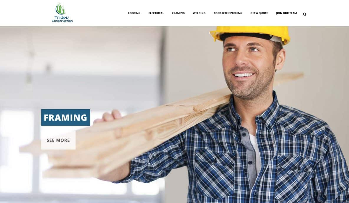 Tridev Construction Website Design by Achieve Online